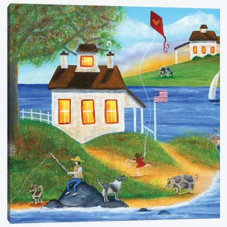 Summertime Fishing Canvas Print #CBT220} by Cheryl Bartley Canvas Print