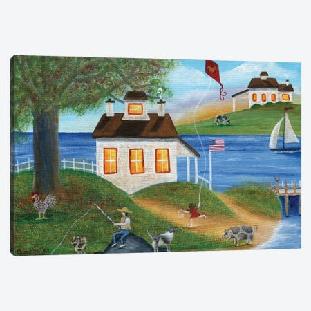 Summertime Fishing with spotted dogs, pig and chicken at lake house Canvas Print #CBT221} by Cheryl Bartley Art Print