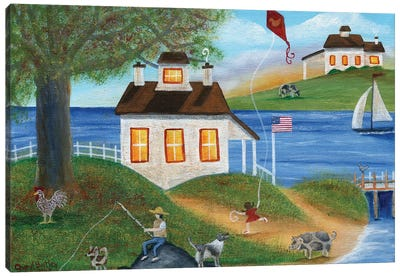 Summertime Fishing with spotted dogs, pig and chicken at lake house Canvas Art Print