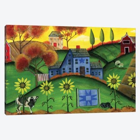 Sunflower Blue Saltbox Farmyard Canvas Print #CBT224} by Cheryl Bartley Canvas Art
