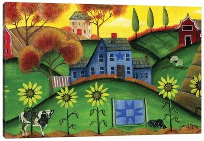 Sunflower Blue Saltbox Farmyard Canvas Art Print