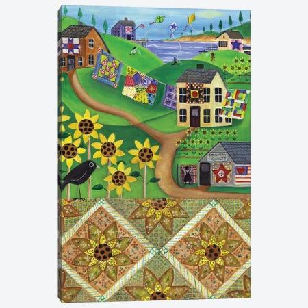 Sunflower Quilt Farm Canvas Print #CBT226} by Cheryl Bartley Canvas Wall Art