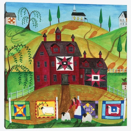 Sunny Day Quilt and Sheep Farm 3-Piece Canvas #CBT227} by Cheryl Bartley Canvas Artwork