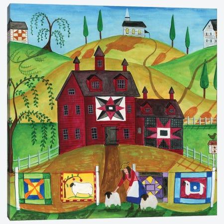 Sunny Day Quilt and Sheep Farm Canvas Print #CBT227} by Cheryl Bartley Canvas Artwork