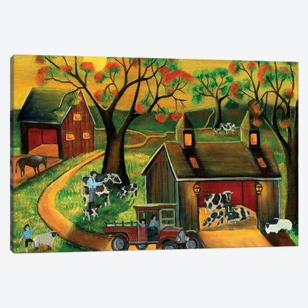 Sunrise Autumn Cow and Sheep Barnyard Canvas Print #CBT228} by Cheryl Bartley Art Print