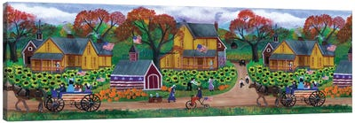 American Primitive Sunflower Pumpkin Farm Border Canvas Art Print