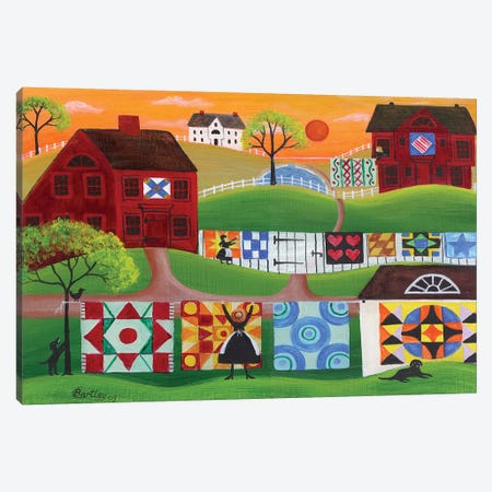 Sunrise Quilt Village Canvas Print #CBT232} by Cheryl Bartley Canvas Art