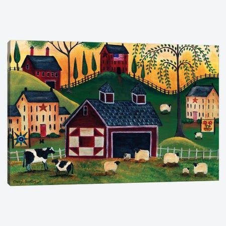 Sunrise Red Quilt Barn Canvas Print #CBT233} by Cheryl Bartley Canvas Art