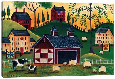 Sunrise Red Quilt Barn Cheryl Bartley Canvas Art Print