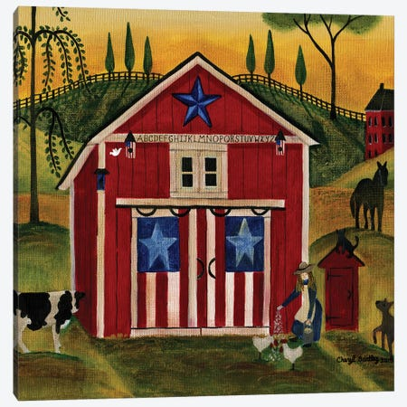 Sunrise Red White Blue Barn Lang Canvas Print #CBT235} by Cheryl Bartley Canvas Print