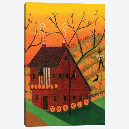 Sunset Pumpkin Saltbox Canvas Print #CBT237} by Cheryl Bartley Canvas Print