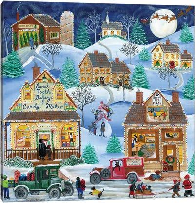 Sweet Tooth Bakery, Candy Maker, Happy Pet Place Christmas Village Canvas Art Print