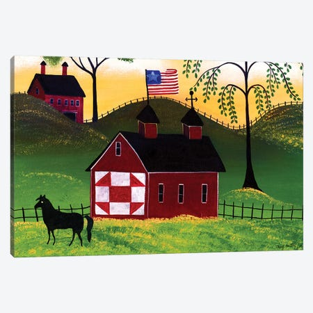 American Red Horse Barn III 3-Piece Canvas #CBT23} by Cheryl Bartley Canvas Wall Art