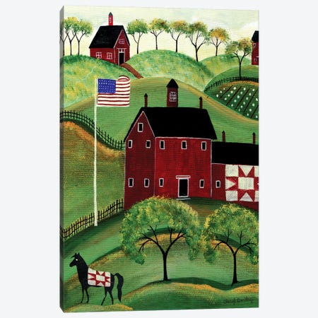 American Red Quilt House Canvas Print #CBT24} by Cheryl Bartley Art Print