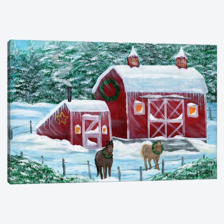 Winter Horses by Red Barn Canvas Print #CBT252} by Cheryl Bartley Canvas Wall Art