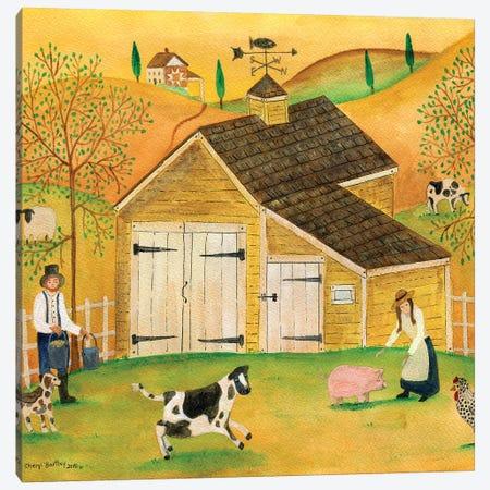 Yellow Barn Canvas Print #CBT254} by Cheryl Bartley Canvas Print