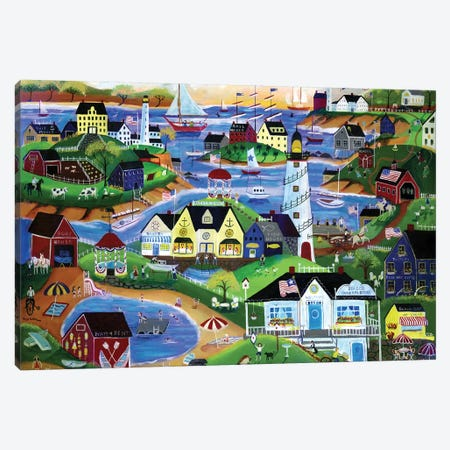 American Seaside Summertime Village Canvas Print #CBT27} by Cheryl Bartley Art Print