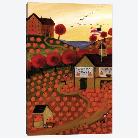 Americana Pumpkin Valley and Homemade Pie Canvas Print #CBT30} by Cheryl Bartley Art Print