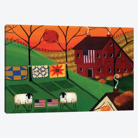 Americana Sunrise Sheep Canvas Print #CBT33} by Cheryl Bartley Canvas Art Print