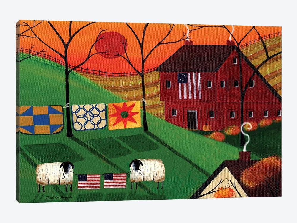 Americana Sunrise Sheep by Cheryl Bartley 1-piece Canvas Art Print