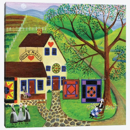 Amish Country Quilt Makers Canvas Print #CBT34} by Cheryl Bartley Canvas Wall Art