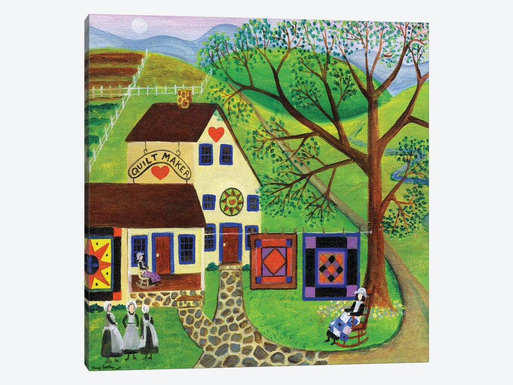 Amish Country Quilt Makers by Cheryl Bartley 1-piece Canvas Wall Art