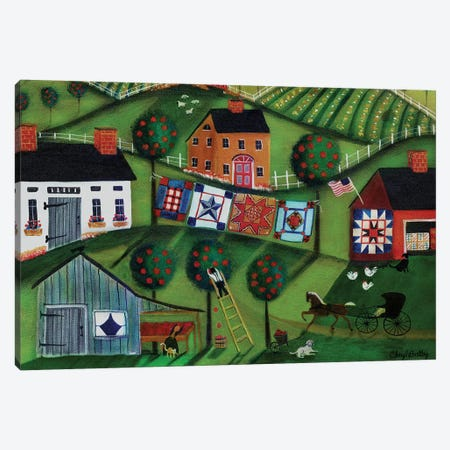 Amish Folk Art Quilts Canvas Print #CBT35} by Cheryl Bartley Canvas Art