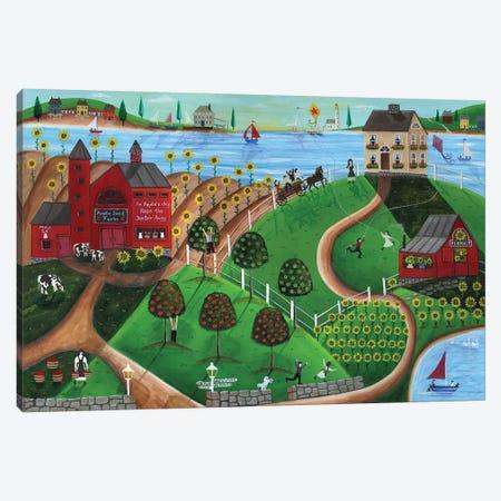 Apple Seed Folk Art Farm Canvas Print #CBT38} by Cheryl Bartley Art Print