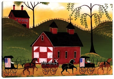 4th Of July Horse Wagon Parade Canvas Art Print