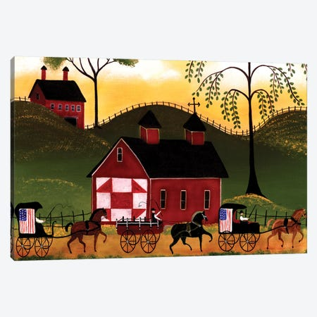 4th Of July Horse Wagon Parade Canvas Print #CBT3} by Cheryl Bartley Canvas Artwork