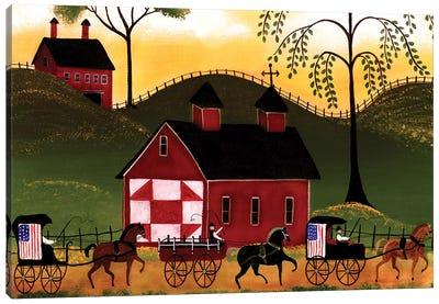 4th Of July Horse Wagon Parade Canvas Art Print