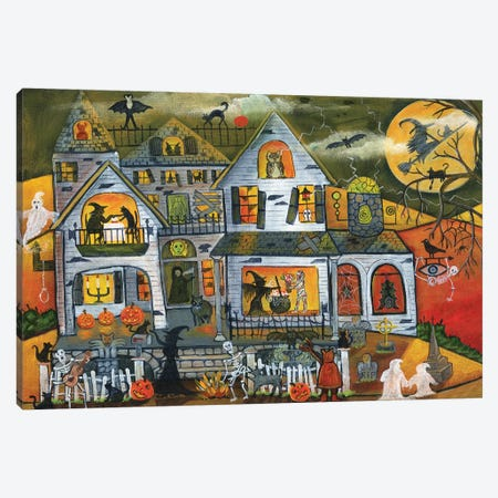 Bewitched Halloween House Canvas Print #CBT46} by Cheryl Bartley Canvas Art Print