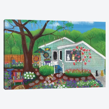 Cats and Dog at Garden Folk Art House Canvas Print #CBT55} by Cheryl Bartley Canvas Artwork