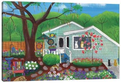Cats and Dog at Garden Folk Art House Canvas Art Print