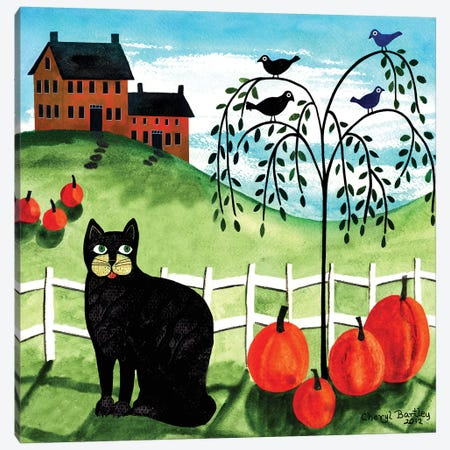 Cats Crows & Pumpkins Canvas Print #CBT56} by Cheryl Bartley Canvas Art