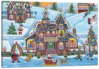 Christmas Gingerbread Inn and Cafe Canvas Art Print