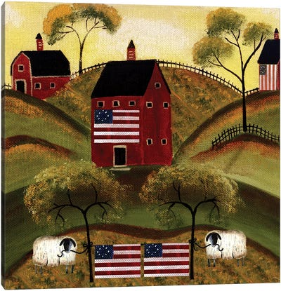 4th Of July Sheep Red Barns Canvas Art Print