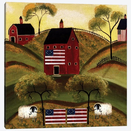 4th Of July Sheep Red Barns Canvas Print #CBT5} by Cheryl Bartley Canvas Art Print