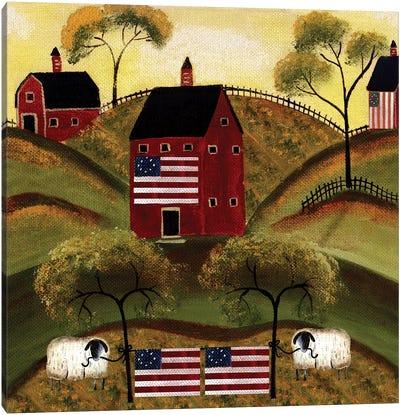 4th Of July Sheep Red Barns Canvas Art Print