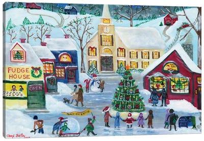 Christmas Holiday Shopping Village Canvas Art Print