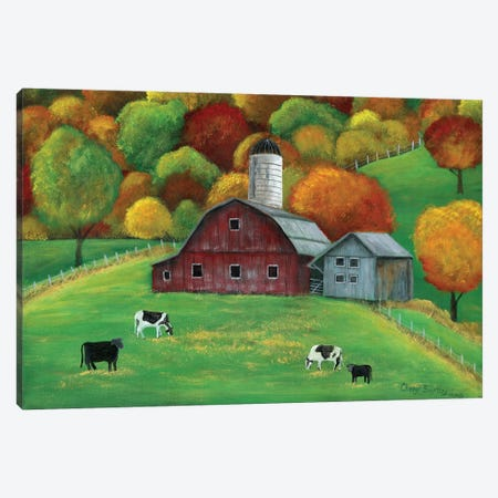 Colors of Autumn Barnyard Canvas Print #CBT61} by Cheryl Bartley Canvas Artwork