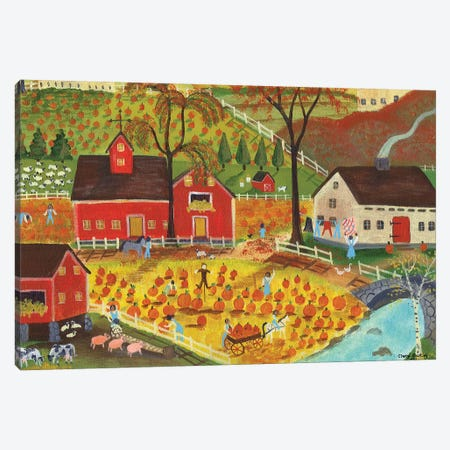 Country Farm Pumpkin Pickers Canvas Print #CBT65} by Cheryl Bartley Canvas Art Print