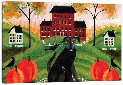 Country Folk Art Dog, Crows And Pumpkins Canvas Art Print