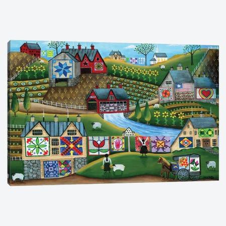 Country Harvest Folk Art Quilt Farms Canvas Print #CBT73} by Cheryl Bartley Canvas Print