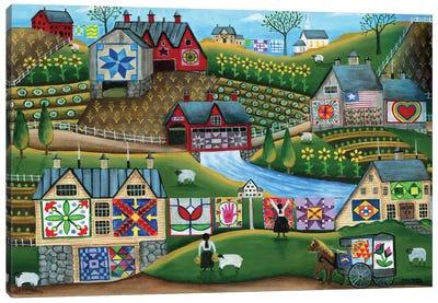 Country Harvest Folk Art Quilt Farms Canvas Art Print