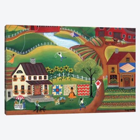Country Kite Quilt Lemonade Canvas Print #CBT75} by Cheryl Bartley Canvas Artwork