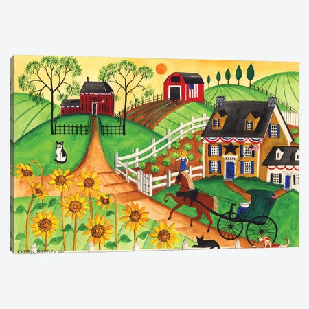 Country Sunflower Quilt Farm Canvas Print #CBT78} by Cheryl Bartley Art Print