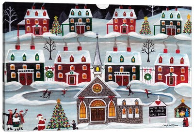 A Child is Born Christmas Skating Village Canvas Art Print