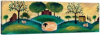 Counyrt Folk Art Sheep Farm Border Canvas Art Print