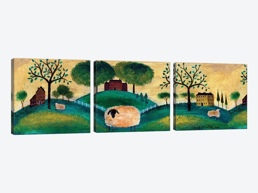 Counyrt Folk Art Sheep Farm Border by Cheryl Bartley 3-piece Canvas Print